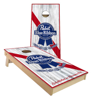 PBR Pabst Blue Ribbon Logo on Distressed wood look Cornhole Boards