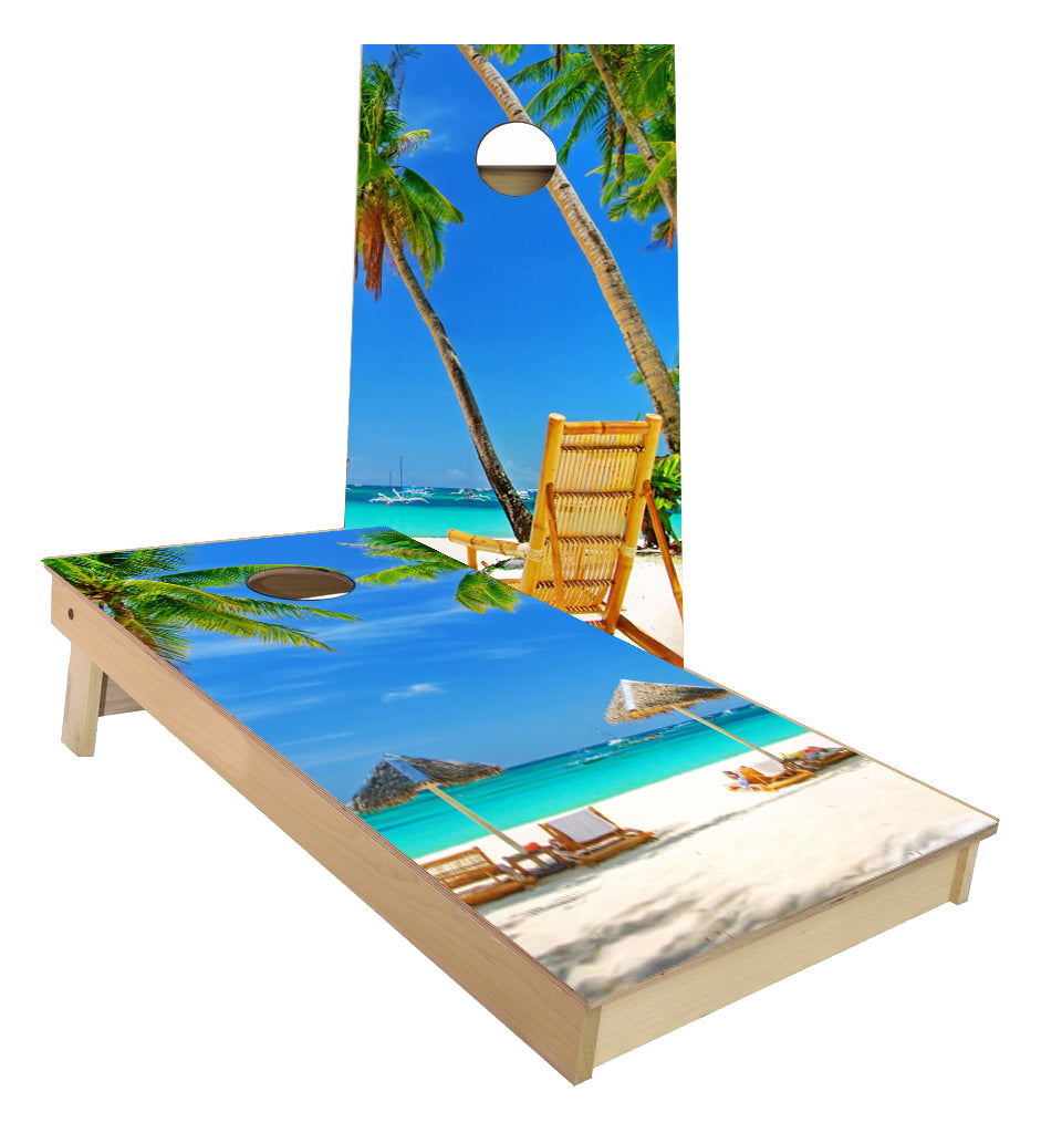 Wicker Beach Chair Paradise cornhole boards