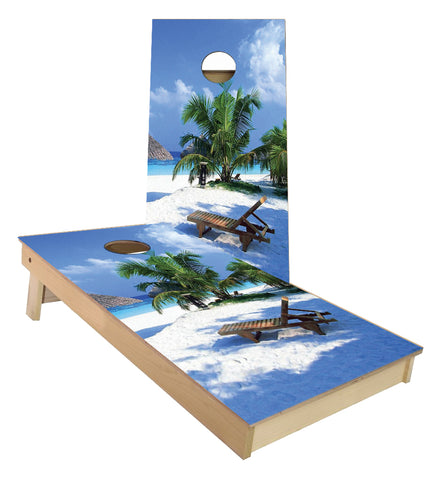 Beach Chair with a perfect view cornhole boards