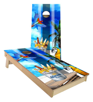 Corona Beer Beach Bum Parrot cornhole boards