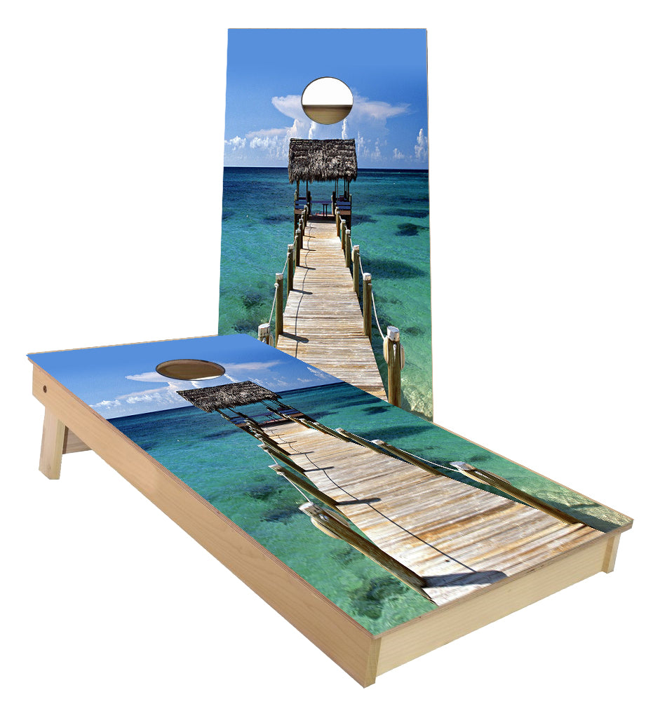 Beach Dock to the Ocean cornhole boards