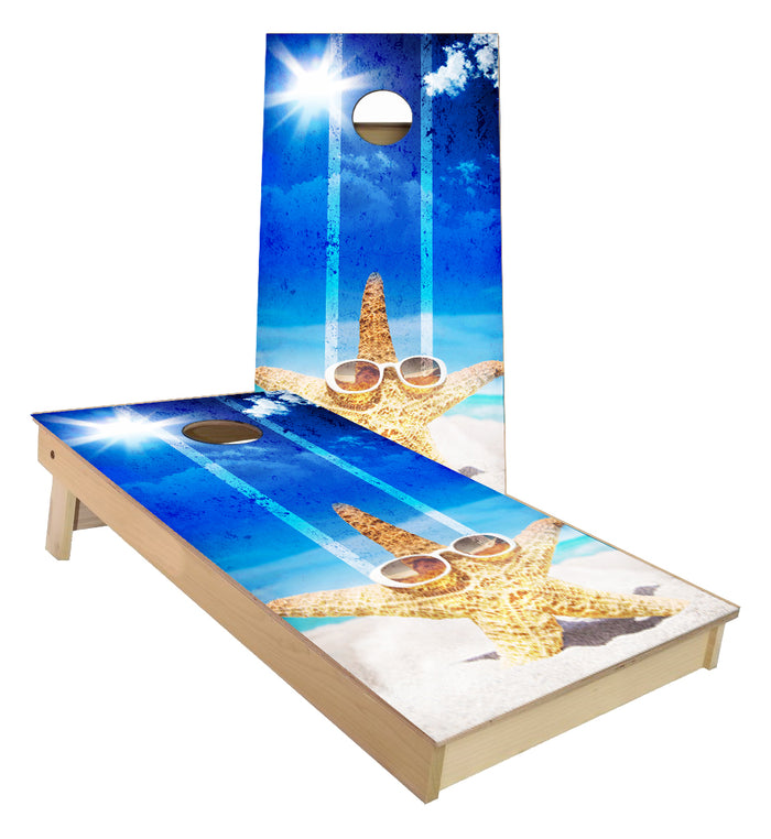 Sun Bathing Starfish cornhole boards