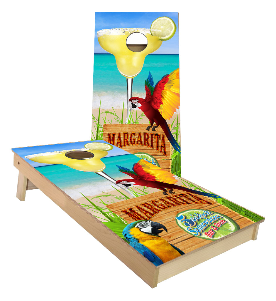 Margarita on the Beach Parrot cornhole boards