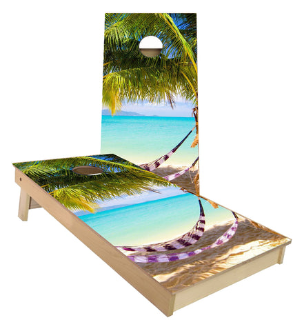 Hammock on the beach cornhole boards