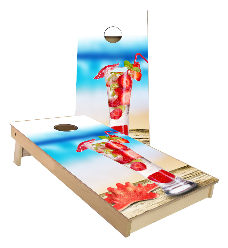 Fresh Fruit Beach Cocktail cornhole boards