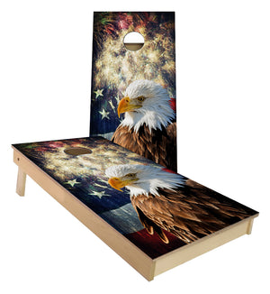 American Bald Eagle Fireworks USA Flag cornhole boards