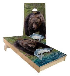 Bear and Salmon Cornhole Boards