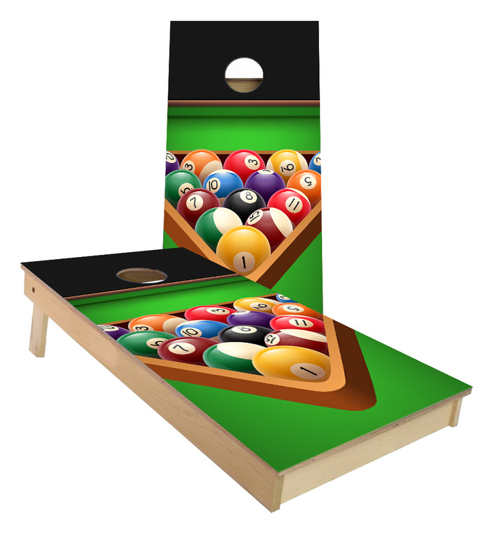 Billiards Pool Balls on table Cornhole Boards