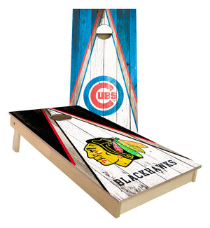 Chicago Cubs and Chicago Blackhawks Triangle theme custom cornhole boards