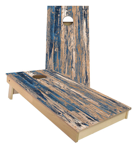 Weathered Wood with scraped blue paint Cornhole Boards