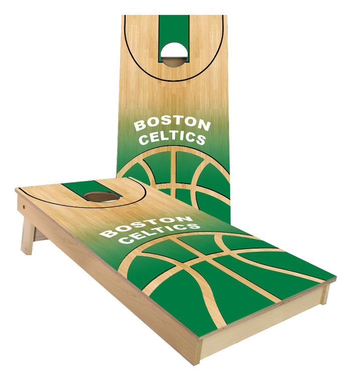 Boston Celtics Basketball Court Cornhole Boards