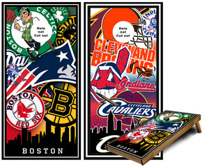 Boston and Cleveleand Sports Teams Cornhole Wraps