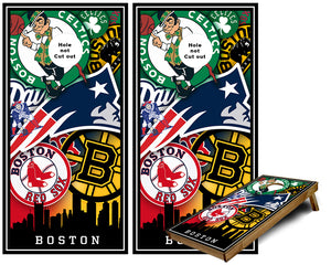 Boston Sports Teams Cornhole Wraps