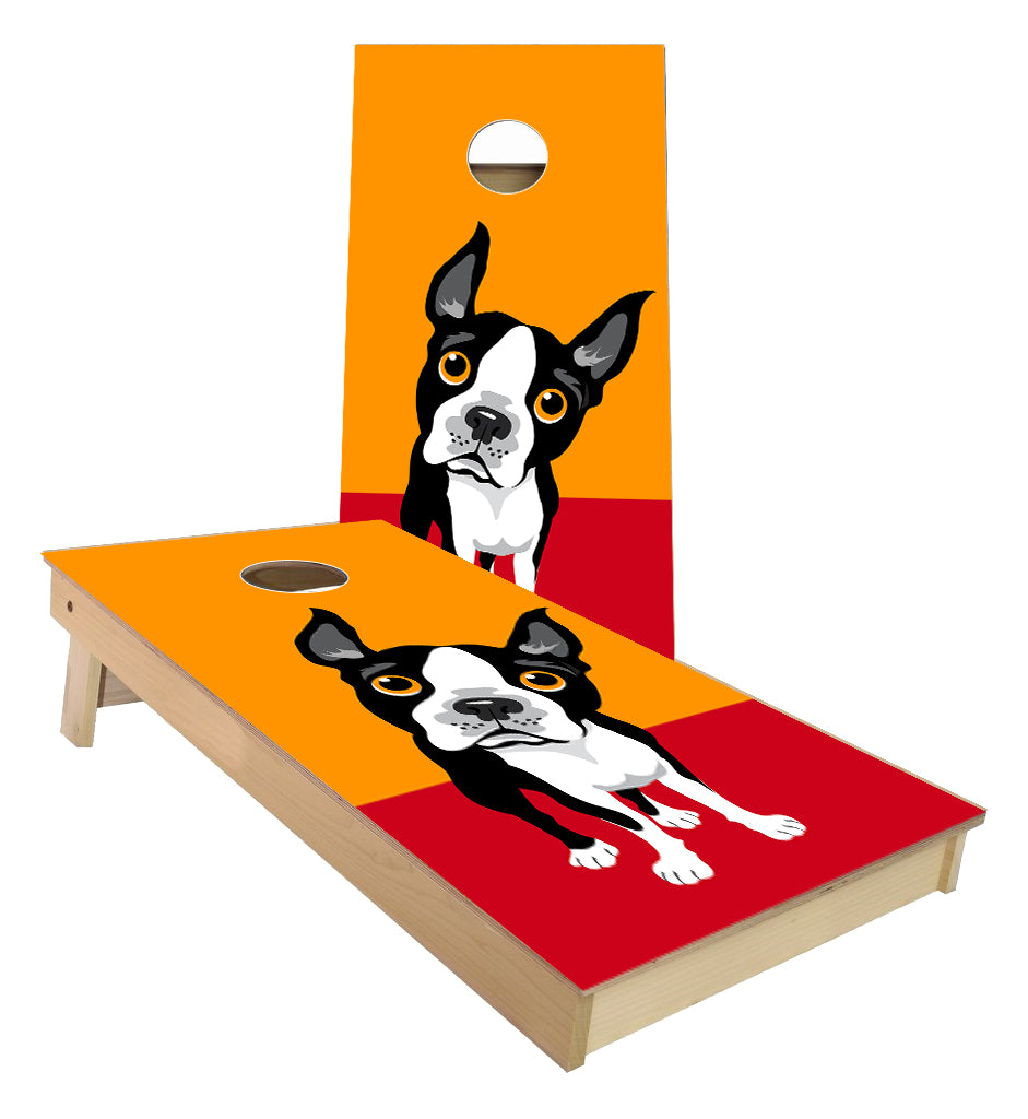 Boston Terrier Dog Cornhole Boards