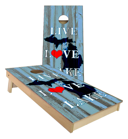 Blue Live Love Lake Michigan Cornhole boards