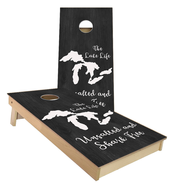 Lake Life Unsalted and Shark Free Cornhole Boards