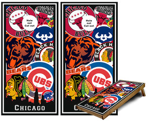 Chicago Sports Teams Cornhole Wraps