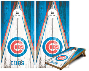 Chicago Cubs Weathered wood Triangle look Cornhole Wraps