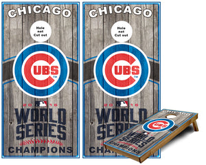 Chicago Cubs World Series Champions Cornhole Wraps