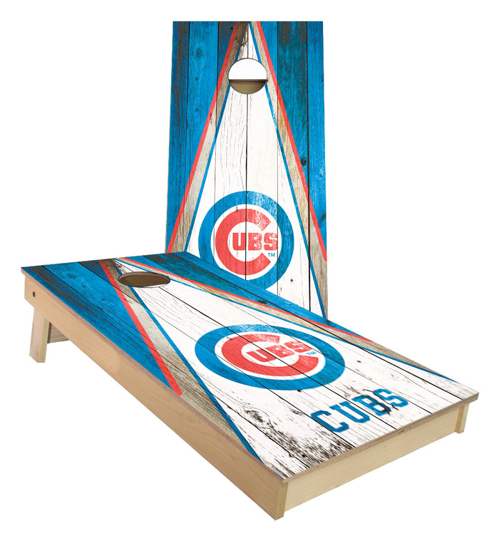 Chicago Cubs Triangle Rustic  cornhole boards