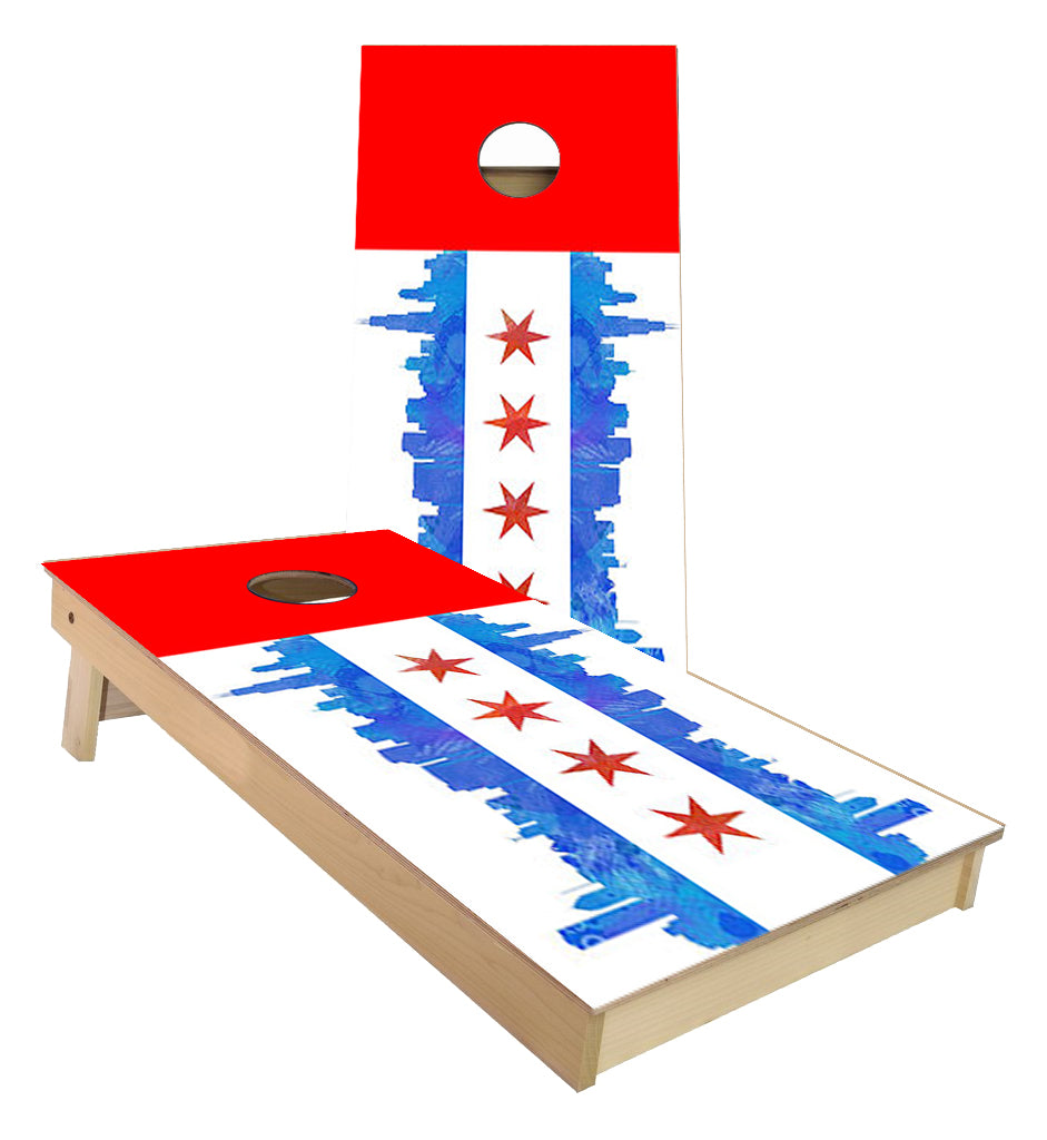 Chicago Skyline Flag cornhole boards