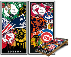 Chicago and Boston Sports Teams Cornhole Wraps