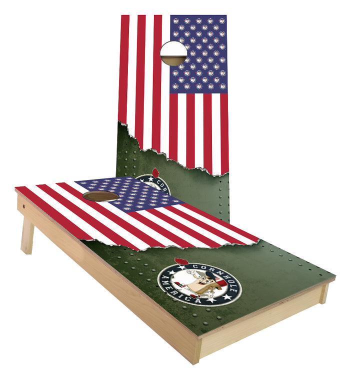 Cornhole America Flag with Torn Metal  Pro Player ACE cornhole boards