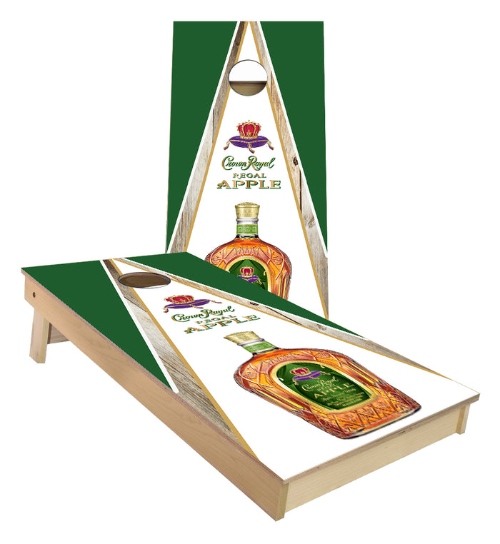 Crown Royal Whiskey Apple Triangle Wood Cornhole Boards
