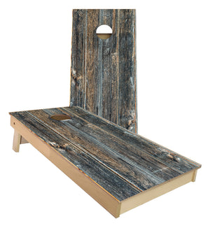 Hillbilly Grey Rustic Wood Cornhole Boards