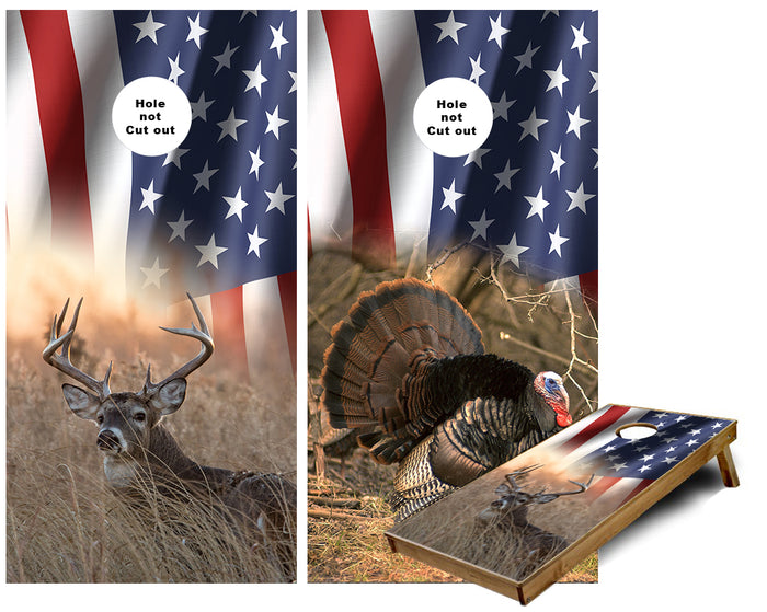 American Flag Wild Turkey and Whitetail Deer Buck Cornhole Wraps