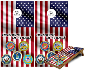 Defiance Off Road custom Cornhole Wraps Military