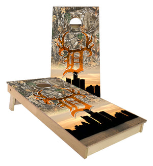 Detroit Buck Club City Skyline Cornhole Boards