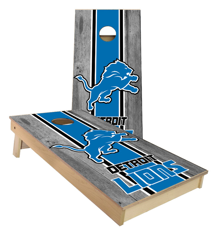 Detroit Lions center striped Cornhole Boards