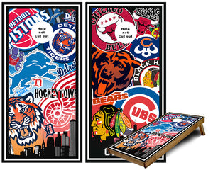 Chicago and Detroit Sports Teams Cornhole Wraps