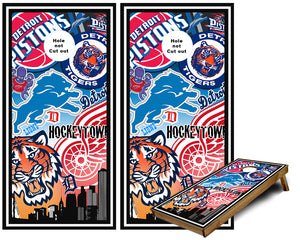 Detroit Sports Teams Cornhole Wraps