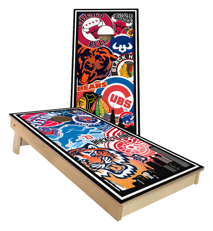 Detroit and Chicago sports teams custom Cornhole Boards