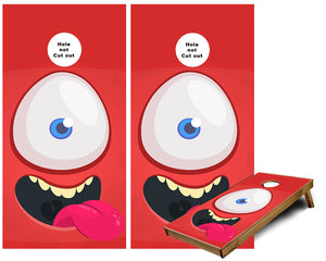 Cyclops Smiling Cartoon character Cornhole Wraps