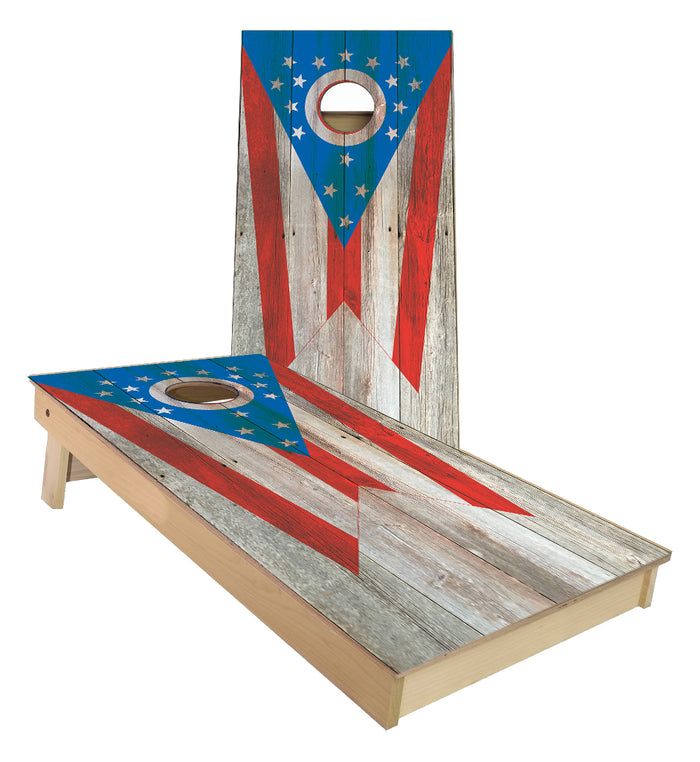 Ohio State Flag Cornhole Boards