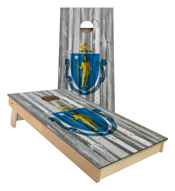 Massachusetts State Flag Cornhole Boards