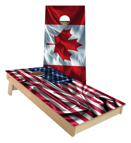 Canada and Unites State of America Flag Cornhole Boards