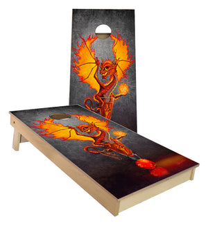Fire Ball Dragon and Drink Art by Stanley Morrison Cornhole Boards