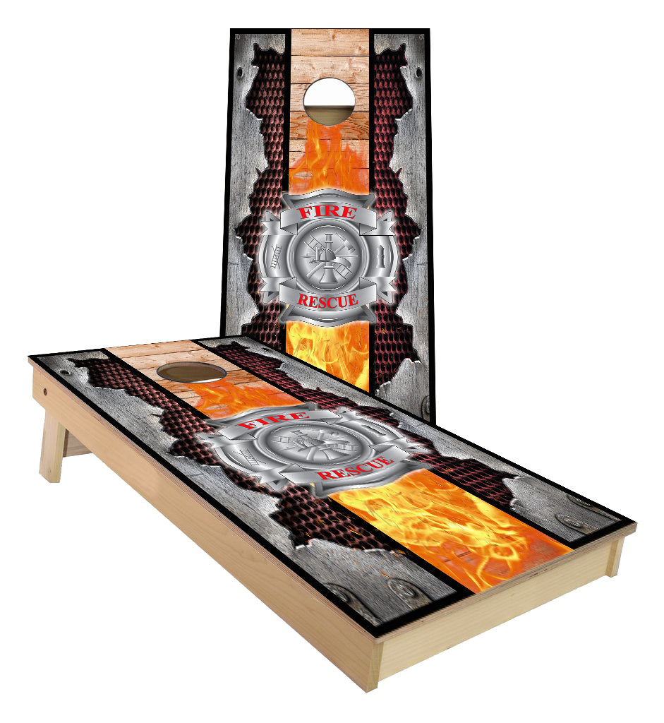 Fire Rescue Maltese cross with torn metal edges Cornhole Boards