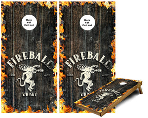 Fireball Whiskey with flames Cornhole Wraps