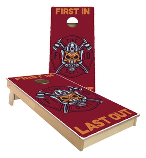 First In Last Out Fire Fighter Cornhole Boards