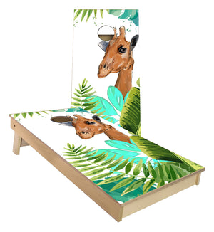 Giraffe in Leaves Cornhole Boards
