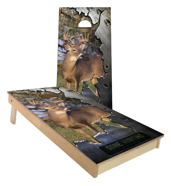 Gone Deer Hunting Big Buck Torn Metal Whitetail cornhole boards