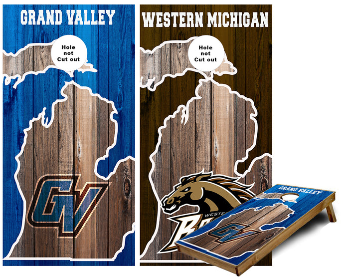 Grand Valley and Western Michigan customCornhole Wraps