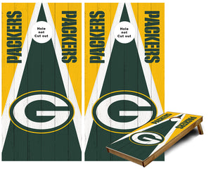 Green Bay Packers triangle themed Cornhole Wraps