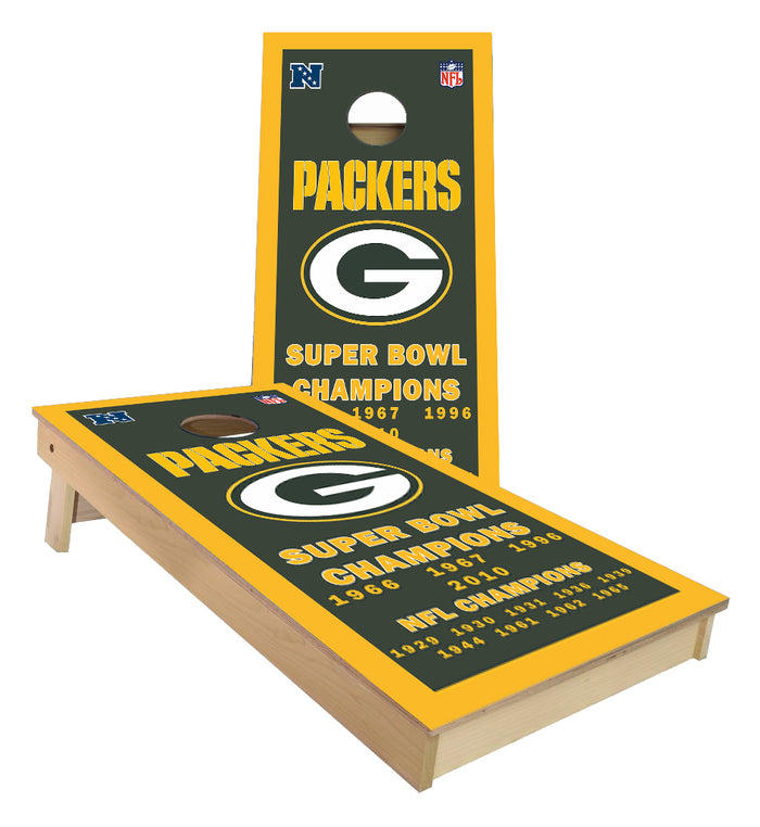 Green Bay Packers NFL Championship Banner Cornhole Boards