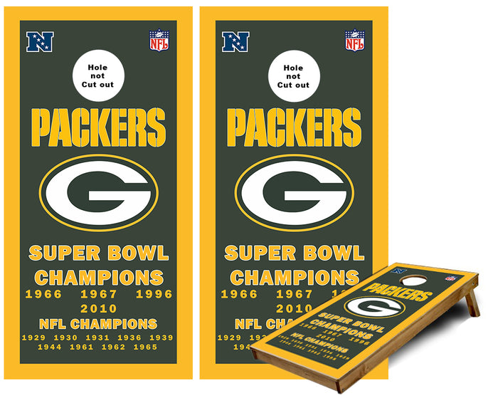 Green Bay Packers championship Banner Cornhole Wraps